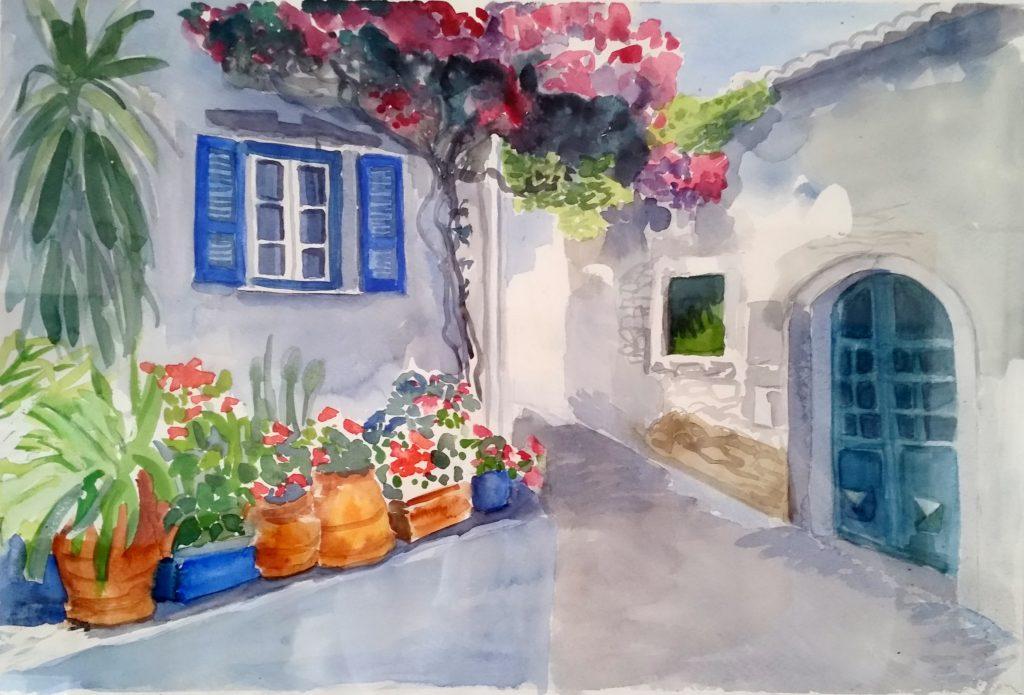 Gemälde von Margarethe Fuchs: Häuser, 2016, Aquarell, 34x49cm