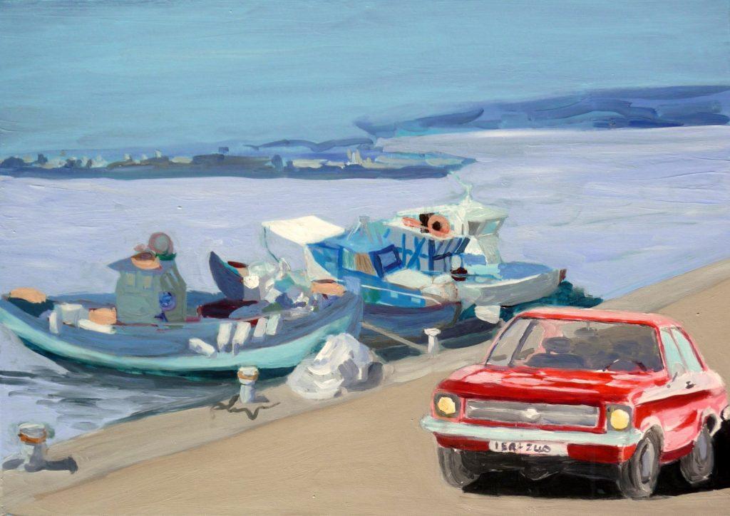 Gemälde von Margarethe Fuchs: Hafen in Kreta, 2016, Acryl, 50x70cm