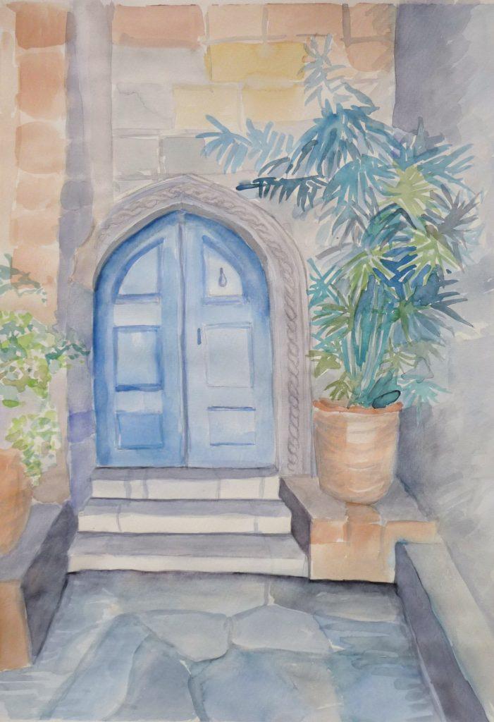 Gemälde von Margarethe Fuchs: Tür in Ierapetra I, 2017, Aquarell, 33x48cm